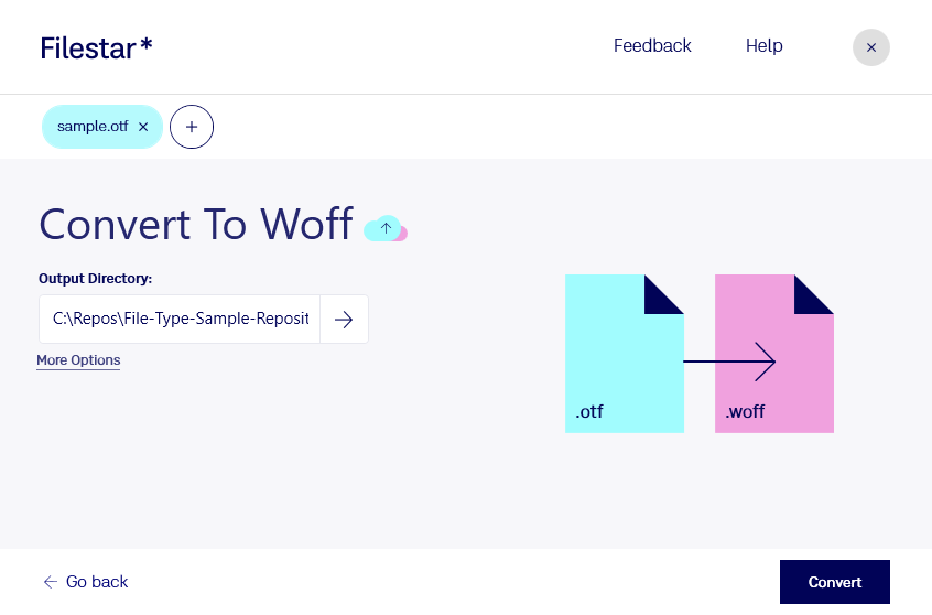 convert otf to woff