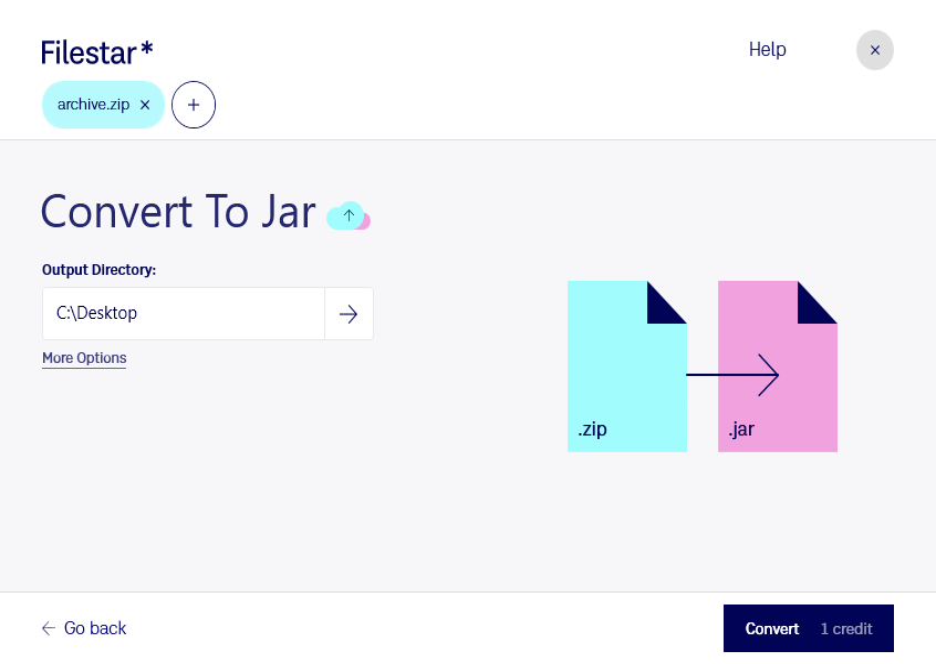 Filestar* Convert Zip To Jar
